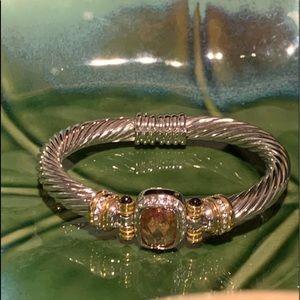 💜4/$10💜 Gold Stone & Silver Bangle Bracelet